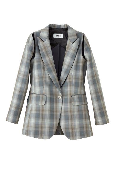 Clothing, Outerwear, White, Blazer, Jacket, Pattern, Sleeve, Plaid, Tartan, Suit,