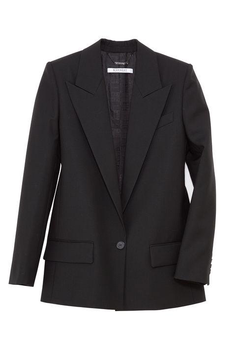 Clothing, Outerwear, Jacket, Blazer, Black, Suit, Sleeve, Formal wear, Button, Top,