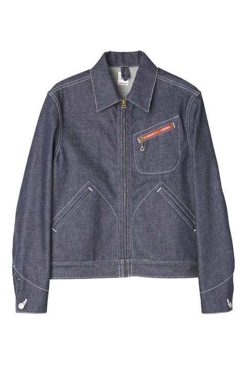 Clothing, Jacket, Outerwear, Denim, Sleeve, Textile, Jeans, Leather, Pocket, Leather jacket,