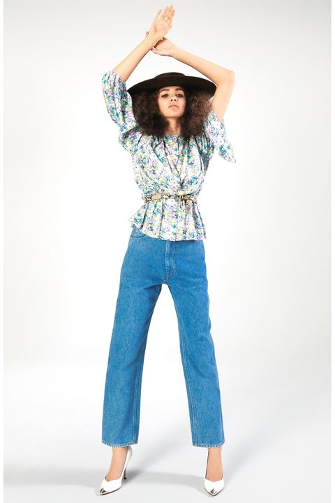 Clothing, Blue, Jeans, Denim, Turquoise, Waist, Shoulder, Sleeve, Neck, Trousers,