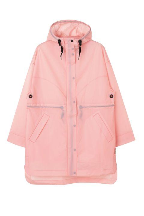 Clothing, Outerwear, Pink, Hood, Jacket, Sleeve, Coat, Peach, Parka, Raincoat,