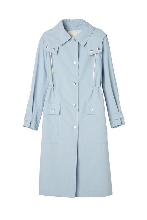 Clothing, Outerwear, Coat, Blue, Trench coat, Sleeve, Overcoat, Collar, Denim, Jacket,