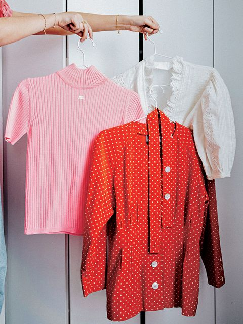 Clothes hanger, Clothing, Red, Sleeve, Pink, Pattern, Outerwear, Design, Polka dot, Shirt,