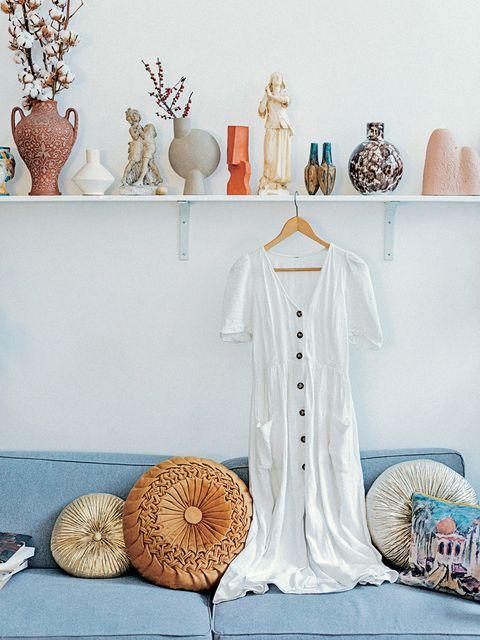 Blue, Room, Furniture, Peach, Table, Interior design, Shelf, Textile, Home accessories, Linens,