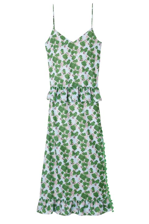 Green, Sleeve, Textile, Dress, White, One-piece garment, Pattern, Teal, Day dress, Clothes hanger,