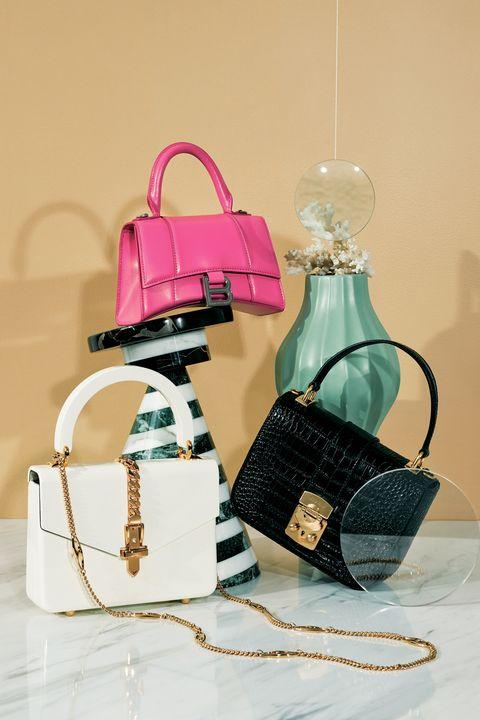 Bag, Product, Handbag, Pink, Fashion accessory, Material property, Still life, Birkin bag,