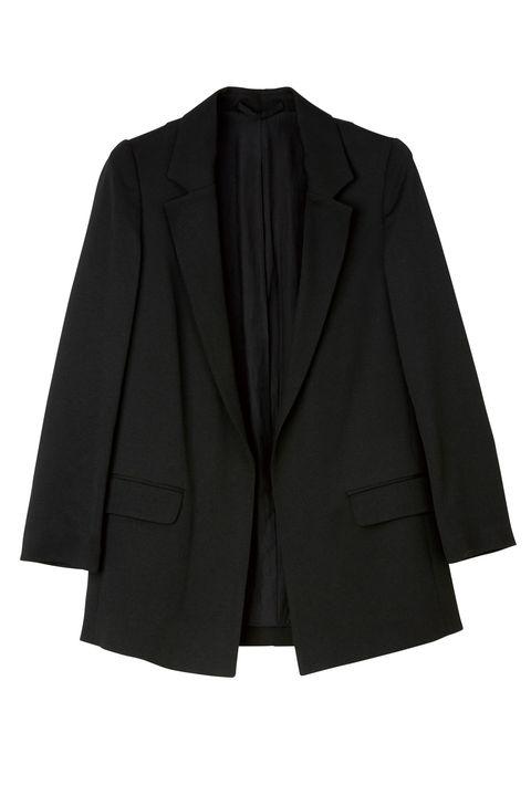 Clothing, Outerwear, Black, Blazer, Jacket, Suit, Formal wear, Sleeve, Collar, Button,