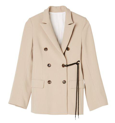 Clothing, Outerwear, Coat, Jacket, Blazer, Beige, Sleeve, Overcoat, Trench coat, Button,