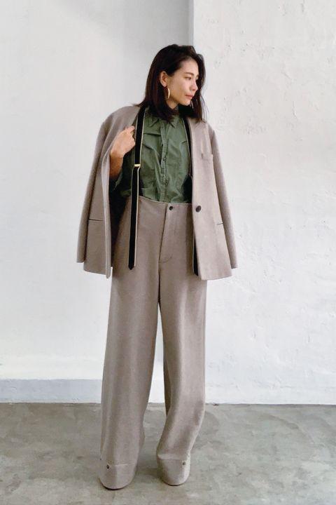 Clothing, Outerwear, Coat, Trench coat, Khaki, Fashion, Street fashion, Trousers, Overcoat, Costume,