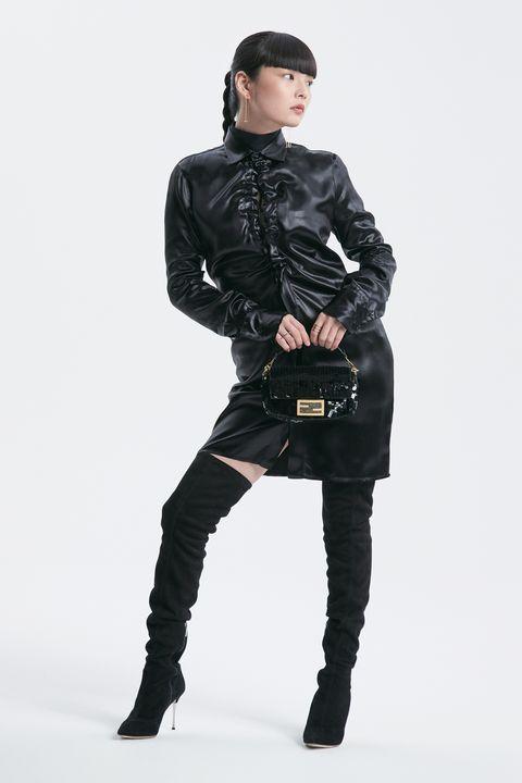 Clothing, Black, Fashion model, Fur, Shoulder, Fashion, Leather, Leggings, Outerwear, Jacket,