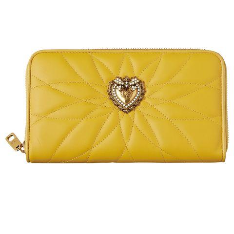Wallet, Yellow, Fashion accessory, Coin purse, Rectangle, Handbag, Leather, Bag,