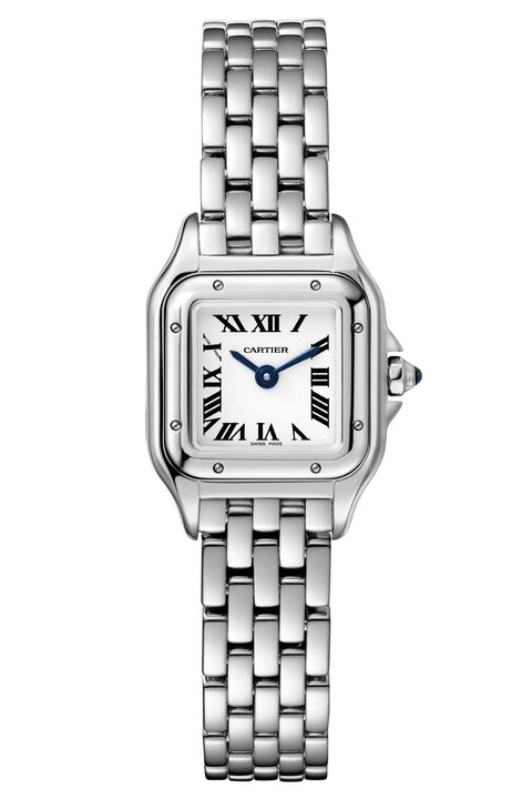 Watch, Analog watch, Watch accessory, Fashion accessory, Jewellery, Silver, Rectangle, Brand, Material property, Metal,