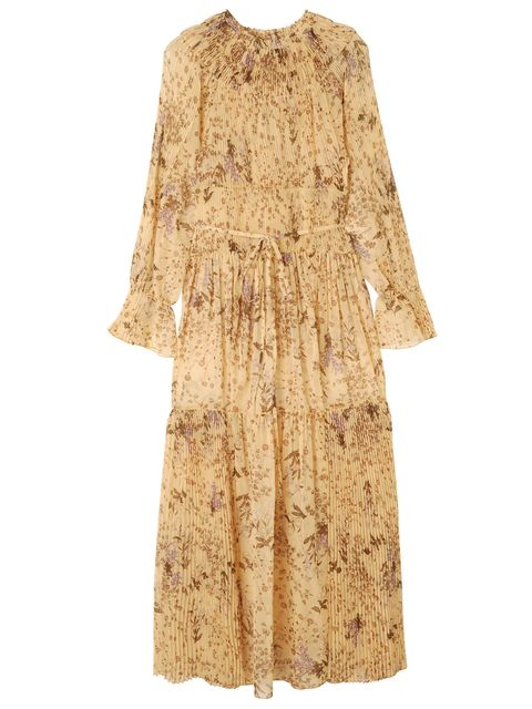 Clothing, Dress, Beige, Yellow, Outerwear, Brown, Shoulder, Cocktail dress, Sleeve, Day dress,