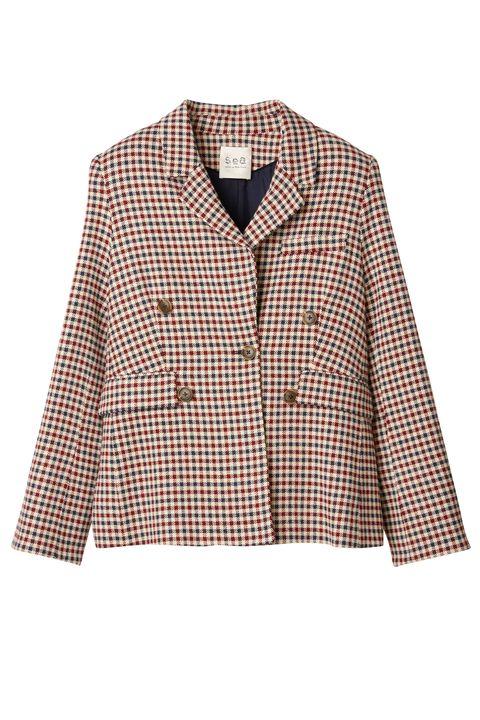 Clothing, Outerwear, Jacket, Blazer, Sleeve, Collar, Coat, Beige, Pattern, Design,