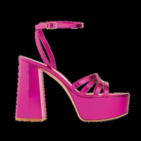 Footwear, High heels, Pink, Sandal, Magenta, Violet, Shoe, Slingback, Basic pump,