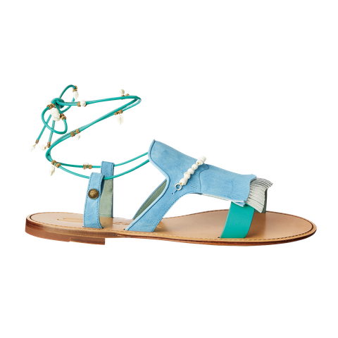 Footwear, Sandal, Turquoise, Teal, Shoe, Turquoise, Strap, Fashion accessory,