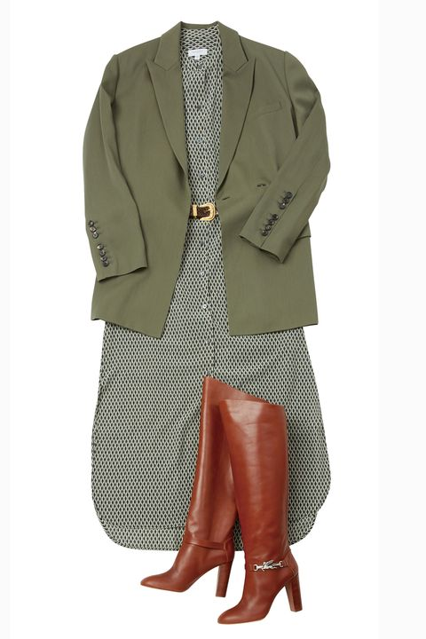 Clothing, Outerwear, Footwear, Suit, Blazer, Jacket, Beige, Sleeve, Shoe, Riding boot,
