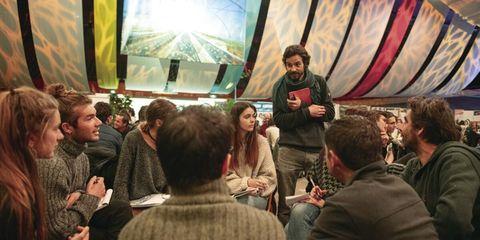 Mammal, Glass, Conversation, Sweater, Curtain, Audience,