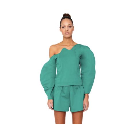 elaine hersby groene asymmetrische top met pofmouwen