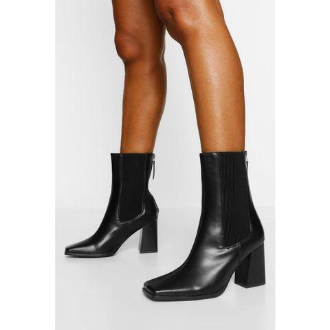 elastic detail block heel shoe boot