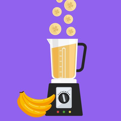 Electric blender mixer machine making blend detox diet juice with fruit banana. Healthy morning breakfast nutrition concept. Vector flat cartoon isolated design graphic illustration