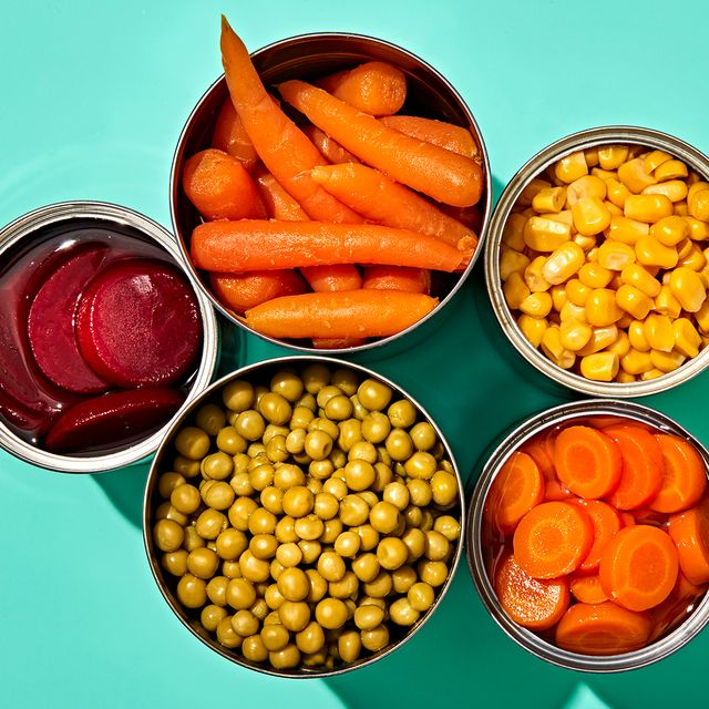 open cans of vegetables