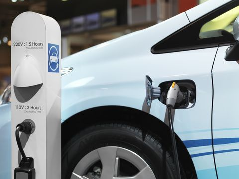 Electric car recharging batteries at a charging station