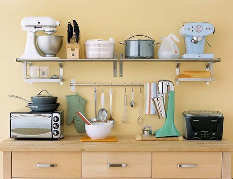 Shelf, Furniture, Shelving, Room, Wall, Small appliance, Desk, Cabinetry, Hutch, Drawer,