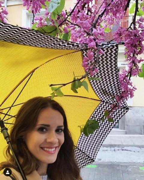 Purple, Beauty, Spring, Flower, Plant, Tree, Smile, Fashion accessory, Blossom, Magenta,
