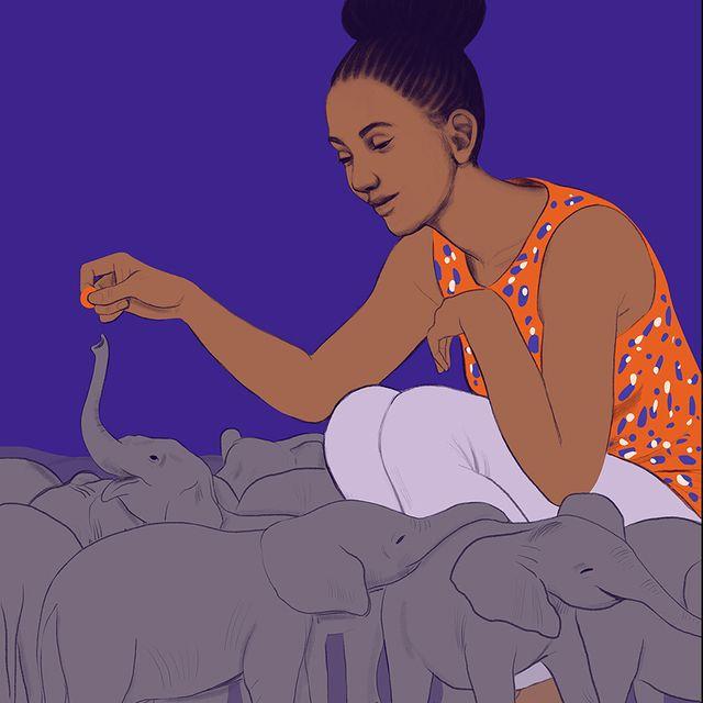 baby elephants with woman
