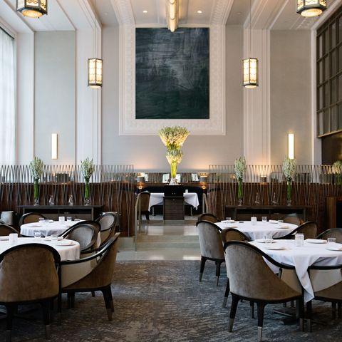 Restaurant, Room, Building, Interior design, Table, Furniture, Function hall, Dining room, Hotel, Organization,