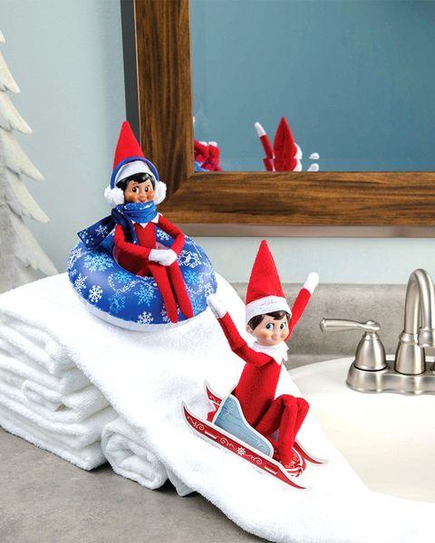 elf on the shelf ideas snow slide