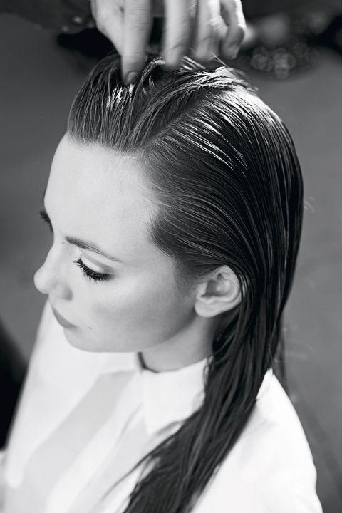 Hair, Hairstyle, White, Black-and-white, Eyebrow, Beauty, Monochrome, Forehead, Chignon, Long hair,