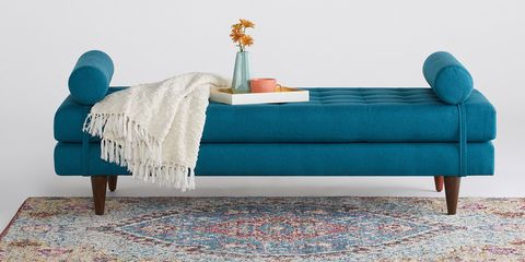 Furniture, Turquoise, Bed, Couch, studio couch, Aqua, Table, Bed frame, Teal, Room,