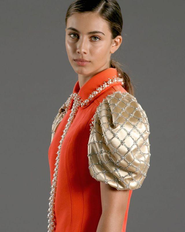 Collar, Fashion, Dress, Day dress, Eyelash, Model, Fashion model, One-piece garment, Makeover, Fashion design,