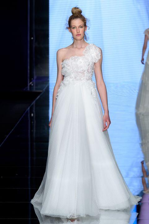 Gown, Wedding dress, Clothing, Fashion model, Dress, Bridal clothing, Shoulder, Bride, Bridal party dress, Fashion,