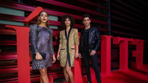 Fashion, Red, Fashion design, Event, Flooring, Fashion model, Fun, Carpet, Photography, Red carpet,
