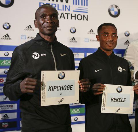 (L) Eliud Kipchoge, (C) Kenenisa Bekele and (R) Wilson...