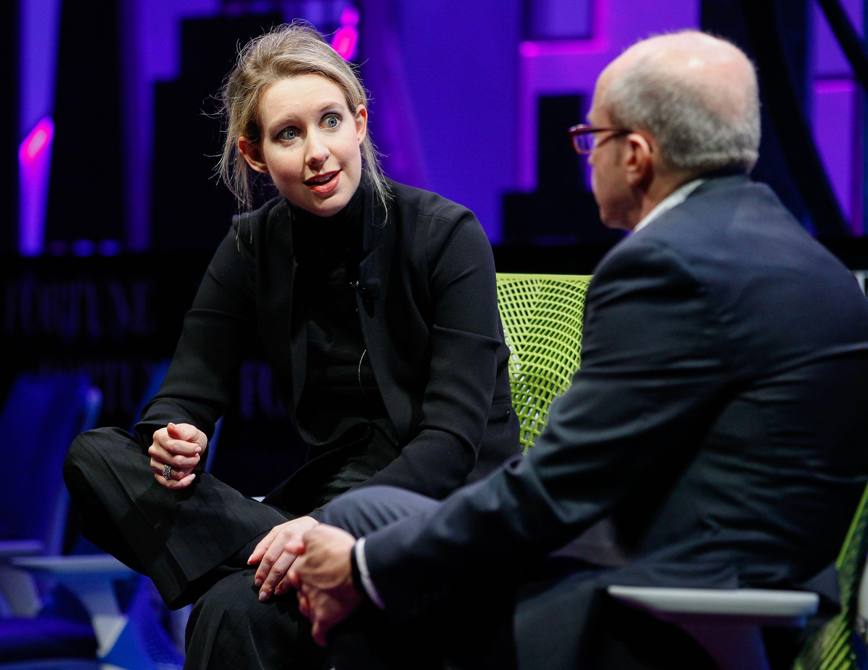 Elizabeth Holmes and Alan Murray speak at the Fortune Global Forum in November 2015.