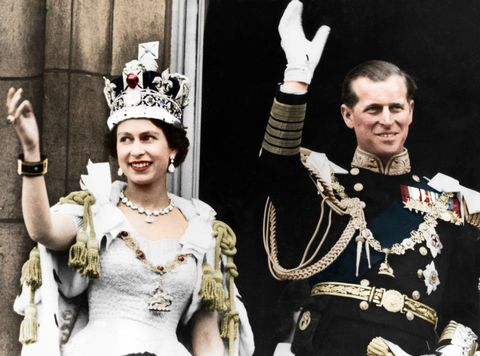 queen elizabeth ii and the duke of edinburgh on the day of their coronation, buckingham palace, 1953 colorised black and white print artist unknown photo by the print collectorgetty images