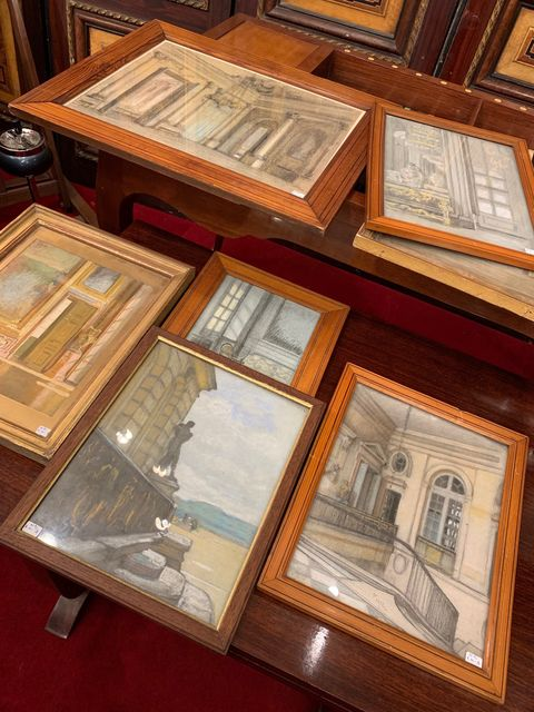 Picture frame, Collection, Wood, Antique, Paper, Table, Wood stain, Interior design, Furniture,