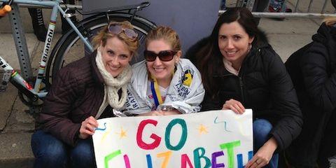 Elizabeth Pederson at Boston Marathon Finish