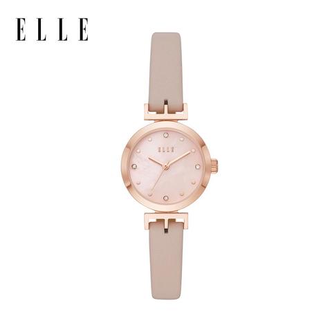 elle odéon 珍珠母貝優雅粉膚色皮革手錶