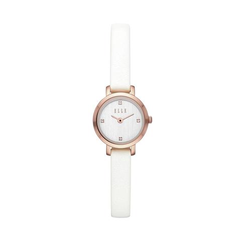 elle marigny 白色皮革腕錶