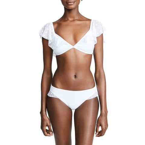 ella moss white ruffle sleeve bikini