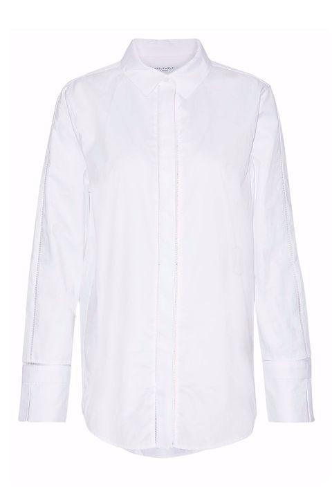 Clothing, White, Sleeve, Collar, Outerwear, Shirt, Blouse, Neck, Top, Button,