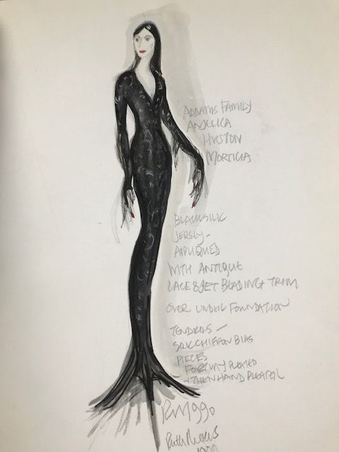 ruth myers's original sketch for morticia addams for 1991's the addams family