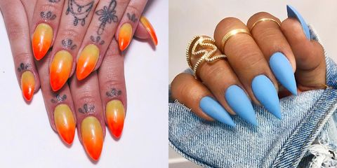 10 Stiletto Nail Designs That Get Straight to the Point - 10 Best Stiletto Nails Designs 2018 - Pointy Stiletto Acrylic Nail Ideas