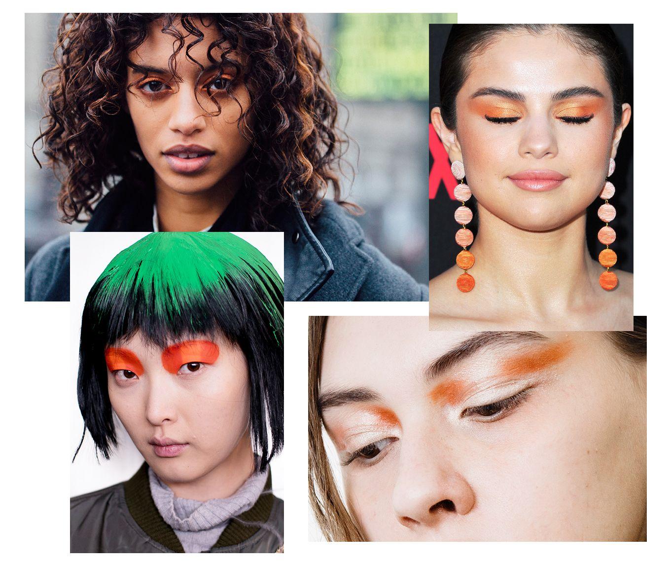 Women with orange shaded eye lids