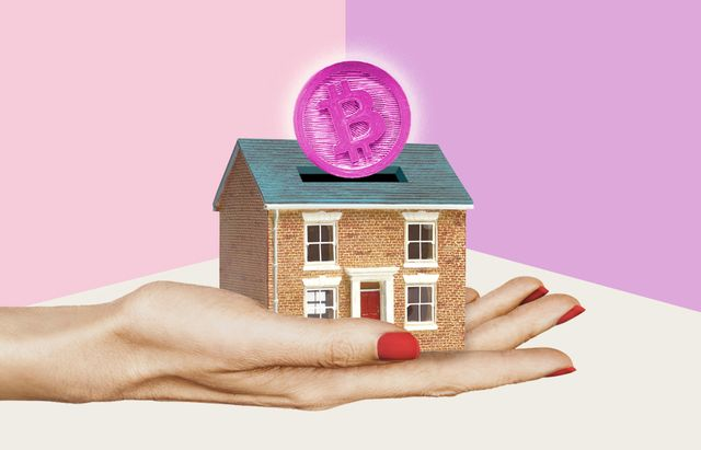 hand holding a house with a pink bitcoin sliding in like a piggybank